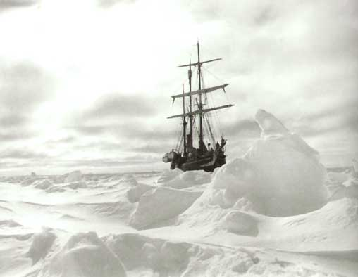 Taken crew member Frank Hurley while trapped on the ice flow in 1914.